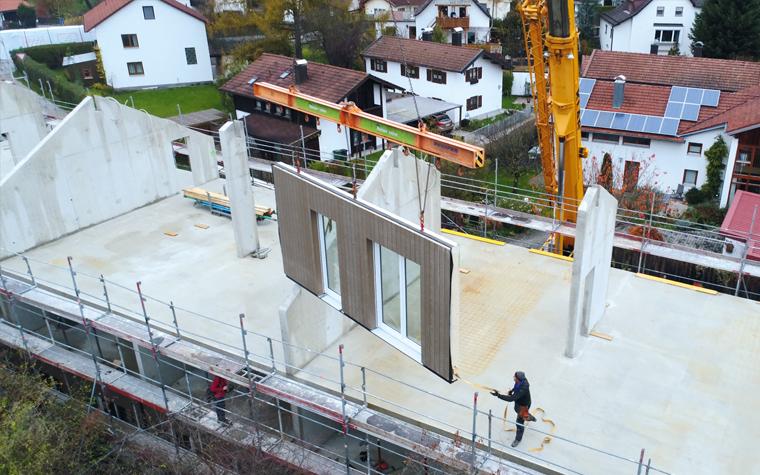 Sozialer Wohnungsbau Sozialwohnungen Montage Seitenelemente München