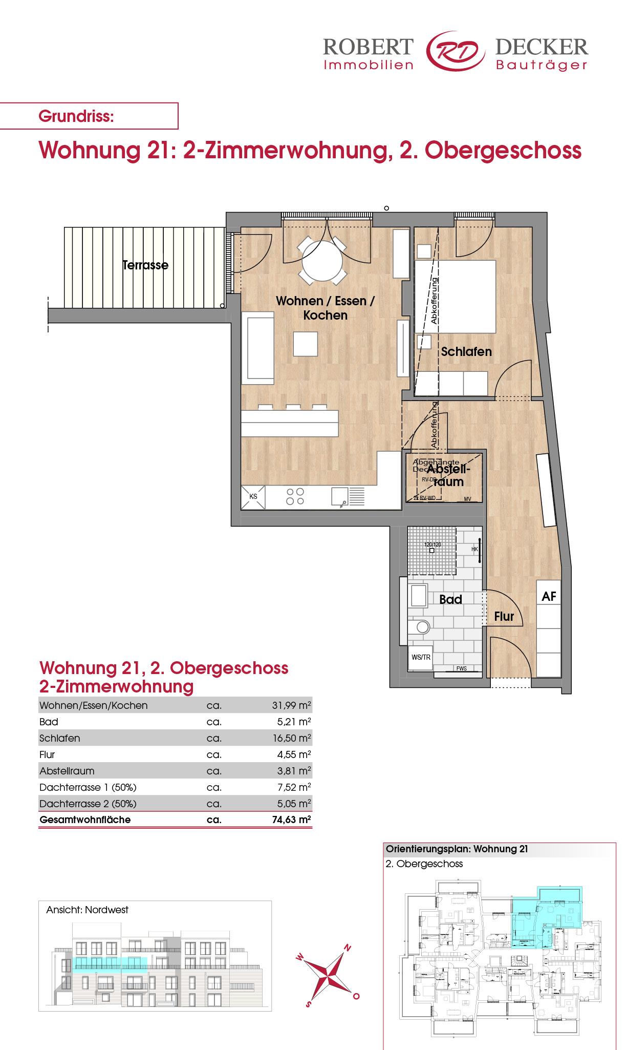 2-Zimmerwohnung, 2. Obergeschoss, Whg. 21