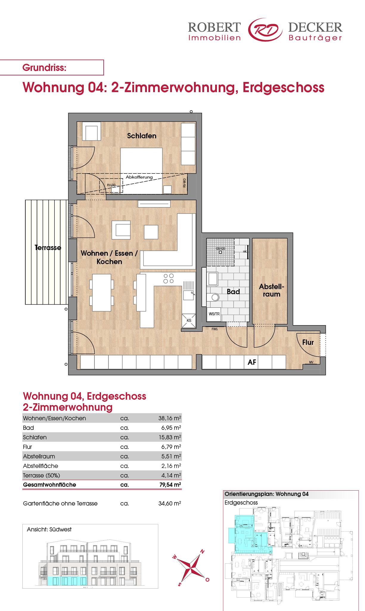 2-Zimmerwohnung, Erdgeschoss, Whg. 04