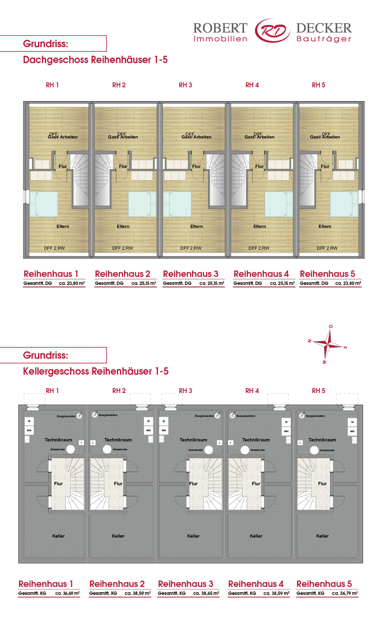 Übersicht Keller und Dachgeschoss